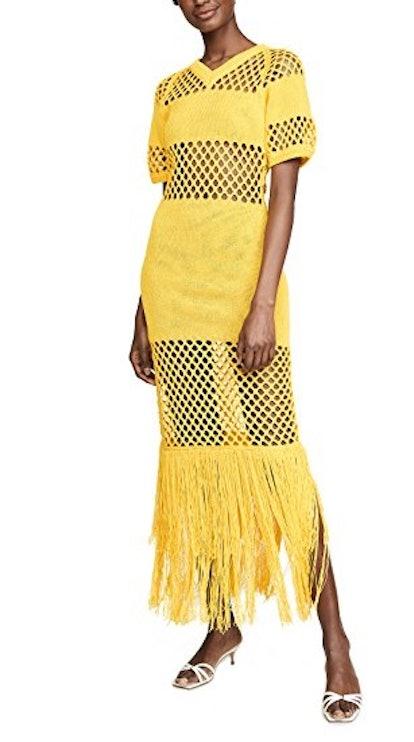 Fishnet V Neck Dress