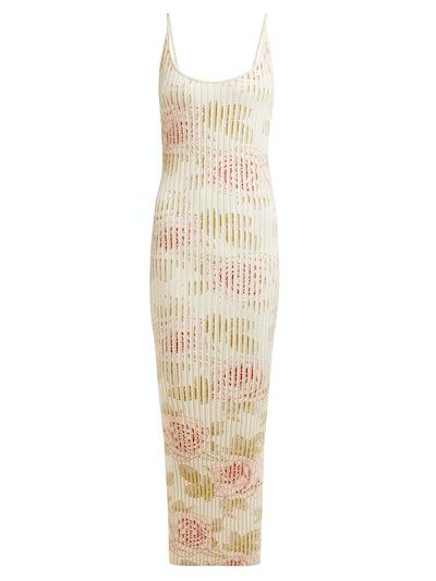 Paco Rabanne Rose-print ribbed-jersey midi dress