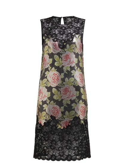Paco Rabanne Lace and rose-print mesh mini dress