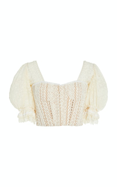 Cropped Cotton-Blend Lace Bustier Top