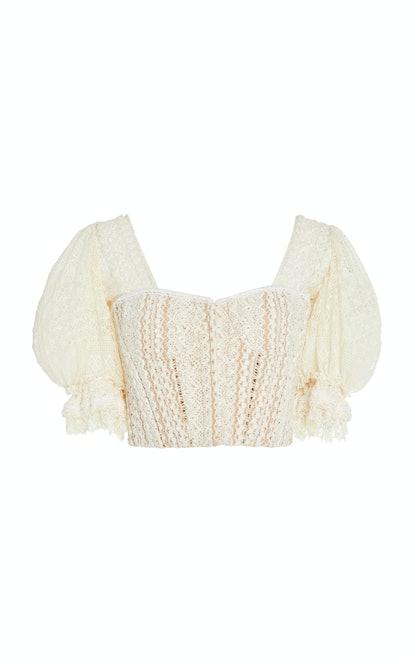 Cropped Cotton-Blend Lace Bustier Top