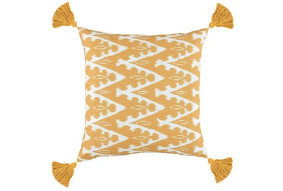 Outdoor Accent Pillow-Outdoor Yellow Zig Zag Tassels