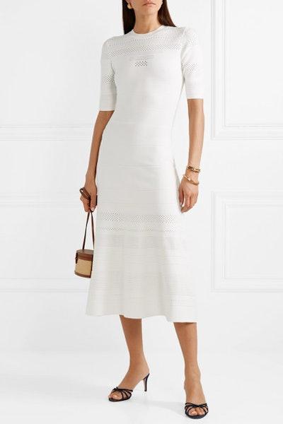 Pointelle-Trimmed Stretch-Knit Midi Dress