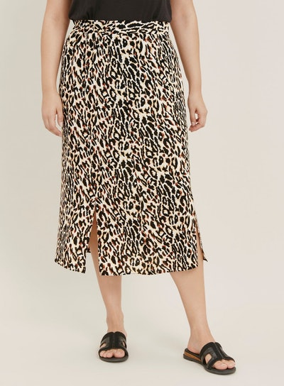 Brown Animal Print Midi Skirt