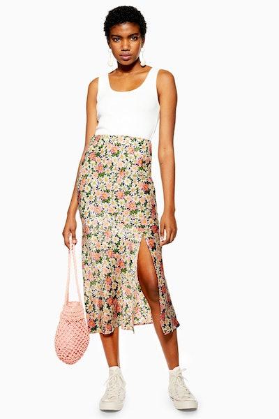 Daisy Floral Satin Bias Midi Skirt