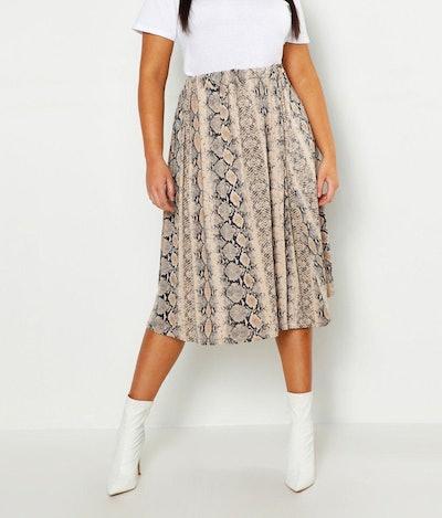 Plus Jersey Animal Print Midi Skater Skirt
