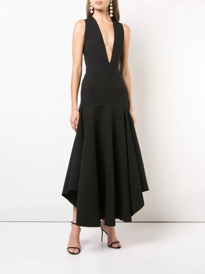 Plunge Neck Maxi Gown
