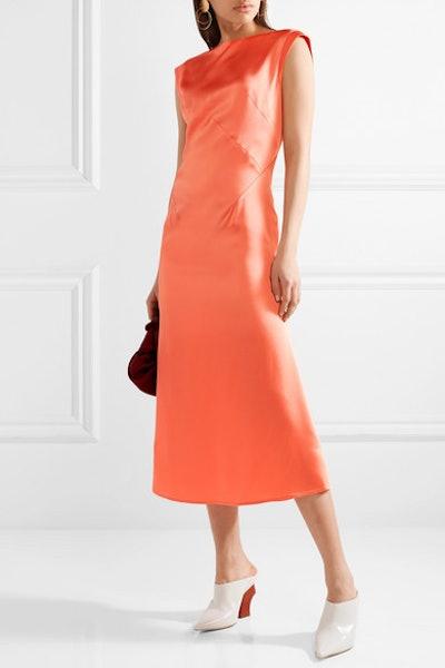 Washed-Satin Midi Dress