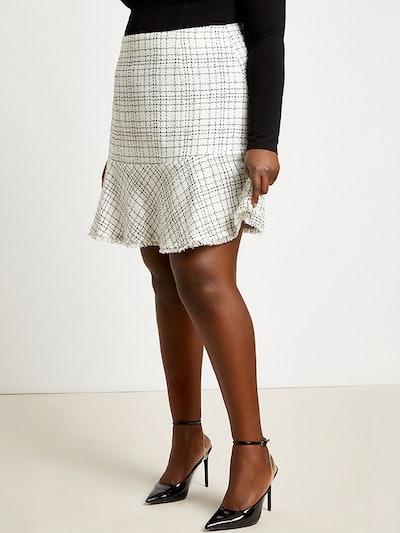 Tweed Skirt With Flounce