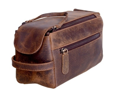 KomalC Genuine Buffalo Leather Toiletry Bag