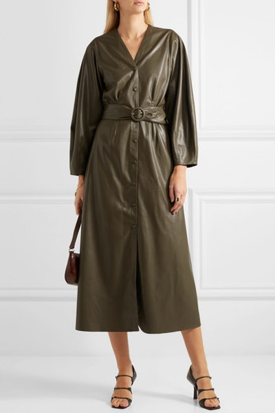 Femme Belted Vegan Leather Midi Dress