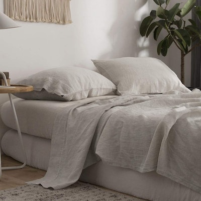 Simple&Opulence 100% Stone Washed Linen 4-Piece Solid Sheet Set (King Size)