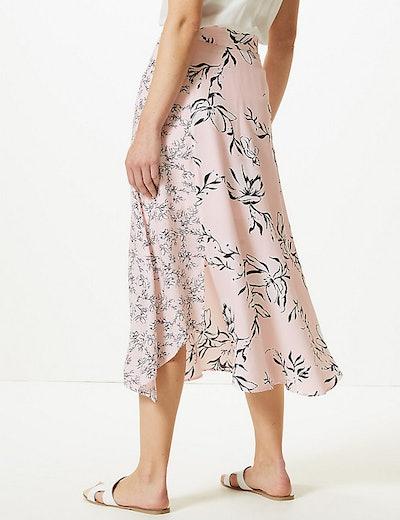 Floral Print Asymmetric Midi Skirt