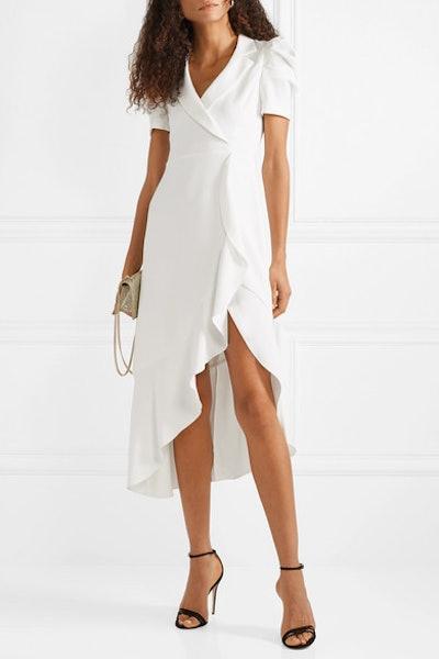 Solaris Wrap-Effect Ruffled Crepe Midi Dress
