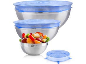 Stainless Steel Mixing Bowls With Stretch Silicone Lids (3-Pack)