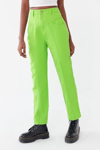 BDG Esme Seamed Straight Leg Jean in Overdyed Lime