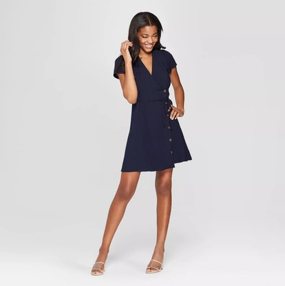 Short Sleeve Side Button-Front Wrap Dress
