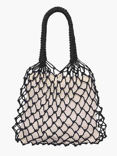 Black Macrame Net Bag