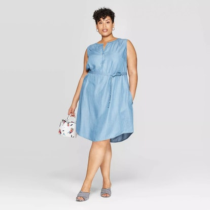 Sleeveless V-Neck Tencel Henley Dress