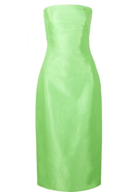 Brandon Maxwell Strapless Satin-Gazar Midi Dress