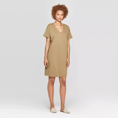Short Sleeve V-Neck T-Shirt Dress