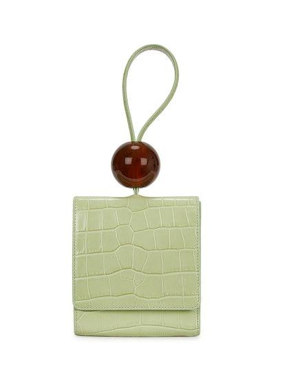 Ball Mini Mint Green Leather Clutch