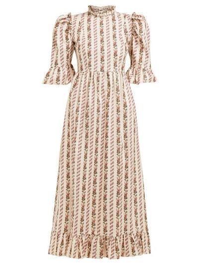 Ruffled Chicago-Print Cotton Maxi Dress
