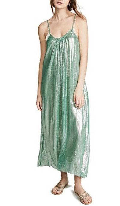 Metallic Chiffon Silk Dress with Straps