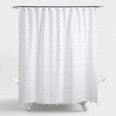 Embroidered Pom Pom Ellie Shower Curtain