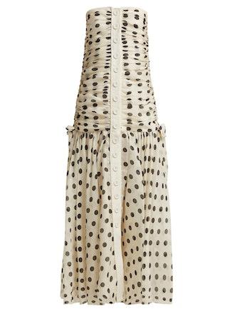 Corsage Ruched Polka-Dot Dress