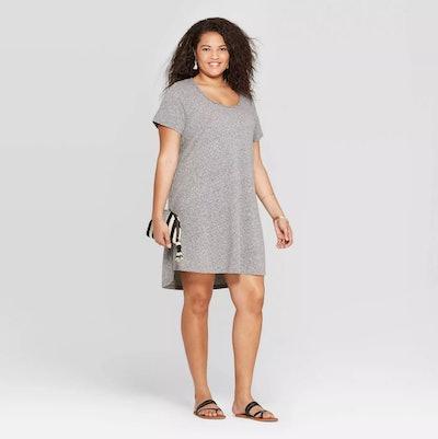 Short Sleeve Scoop Neck T-Shirt Dress