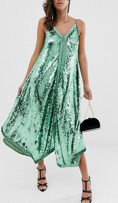 Cami Sequin Trapeze Midi Dress
