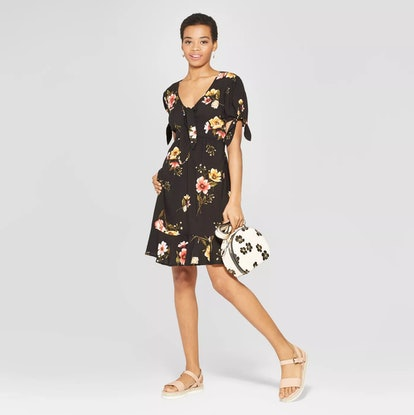 Floral Print Short Sleeve Tie Front Shirtdress