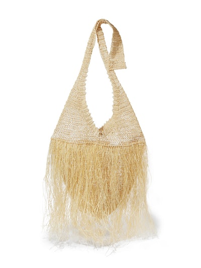 Fringed Woven Straw Tote