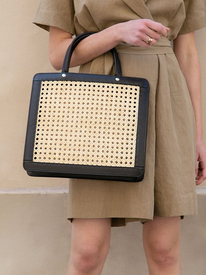 Black Framed Thin Wicker Tote