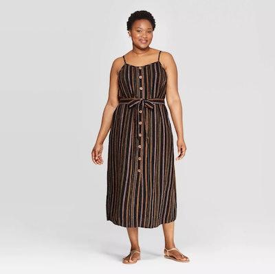 Striped Sleeveless Square Neck Midi Button Front Dress