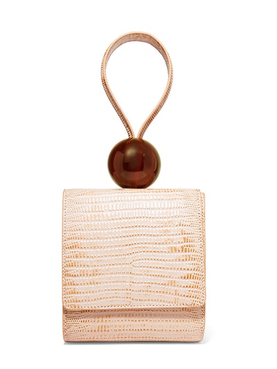 Ball Lizard-Effect Leather Tote