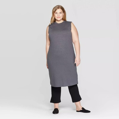 Sleeveless U-Neck Knit Midi Dress
