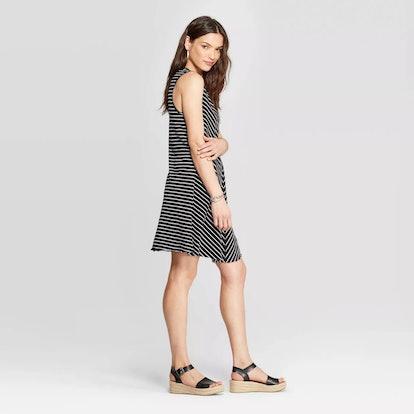 Sleeveless V-Neck At Knee Striped Tank Dress
