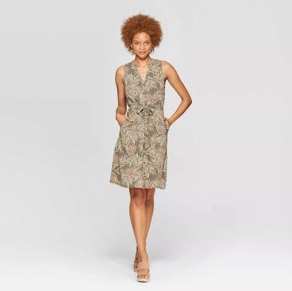 Floral Print Collared Sleeveless Shirtdress