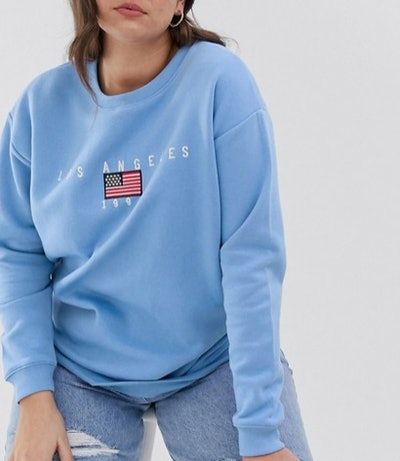 Daisy Street Sweatshirt With Vintage Los Angeles Embroidery