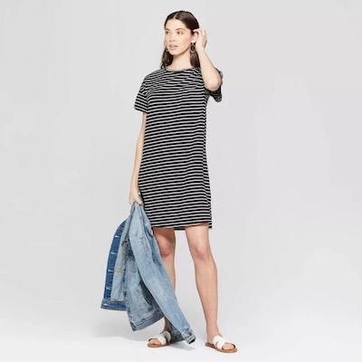 Striped Short Sleeve Crew Neck T-Shirt Dress