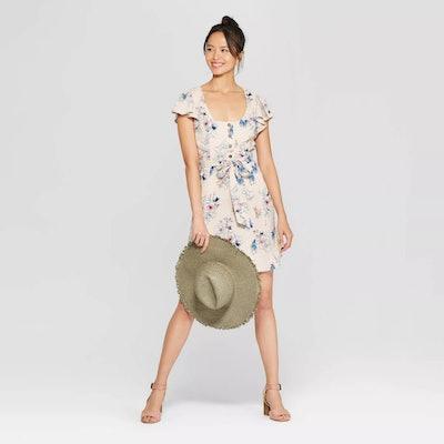 Floral Print Short Sleeve Square Neck Button Front Dress