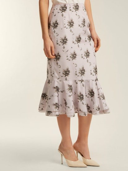 Orchidea Floral-Printed Taffeta Midi Skirt