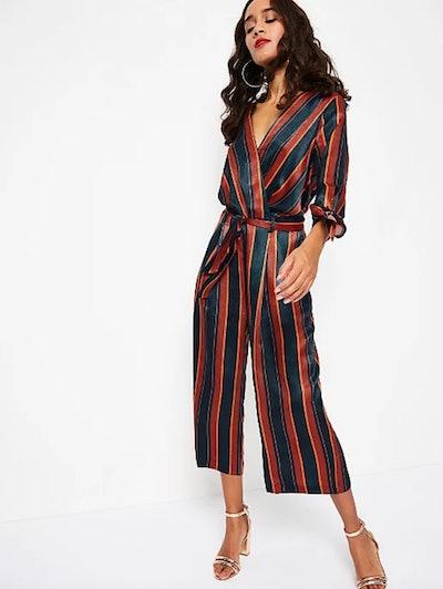Navy Striped Silk-Feel Culotte Jumpsuit