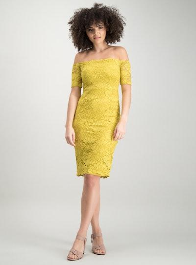 Yellow Lace Bardot Dress