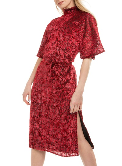 Amalie & Amber Red High Neck Midi Dress