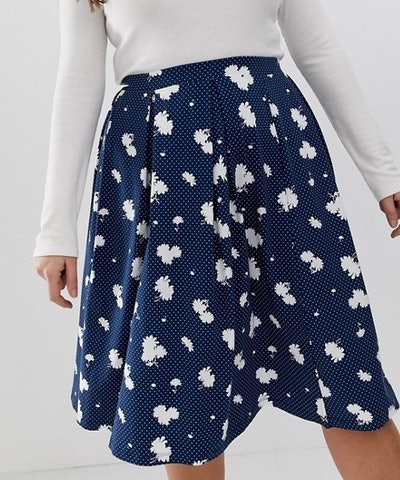 Midi Skirt With Box Pleats In Navy Floral Print