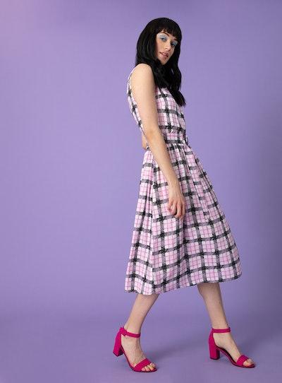Monochrome & Pink Check Prom Dress