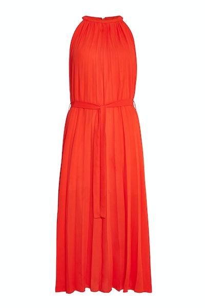 Orange Pleated Maxi Dress